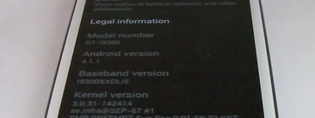 Samsung Galaxy S3, Android 4.1 Jelly Bean per Vodafone