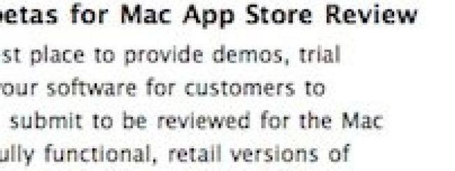 Mac App Store: beta e demo solo su siti Web