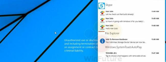 Windows 9, centro notifiche in video