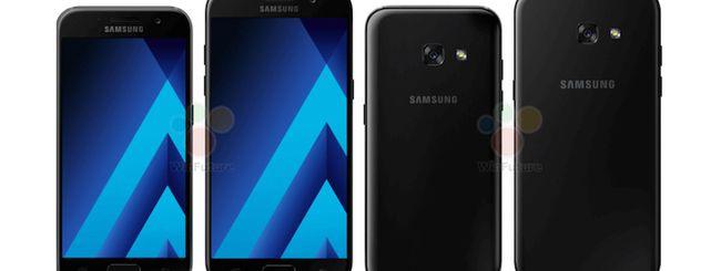 Galaxy A5 (2017) e A3 (2017), immagini ufficiali