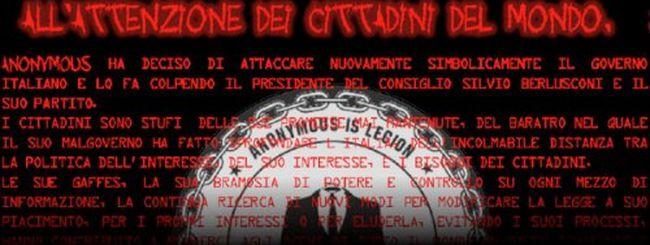 Anonymous all'attacco di Silvio Berlusconi e del PDL