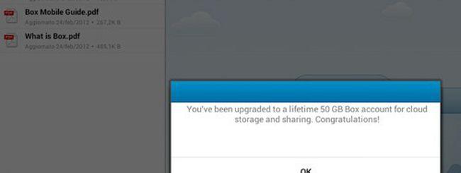 Box, 50 GB di cloud storage gratis su Android