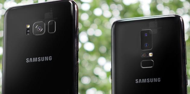 Galaxy S8+ (sinistra) accanto al concept del Galaxy S9 (destra).