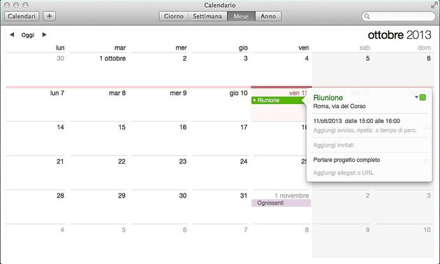 Calendario OS X Mavericks