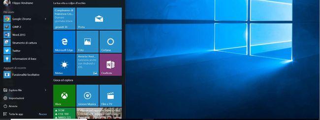 Windows 10, personalizzare il menu Start