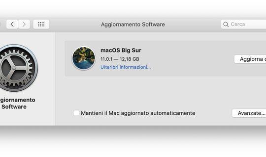 macOS Big Sur- Installazione Aggiornamento