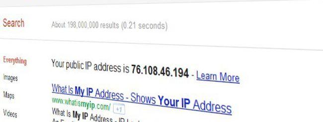 Qual è il mio indirizzo IP? Chiedilo a Google