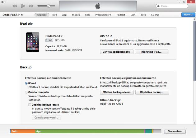 La finestra dalla quale eseguire il backup di un dispositivo iOS