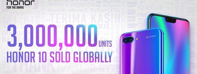 Honor 10, tre milioni di unità vendute in due mesi