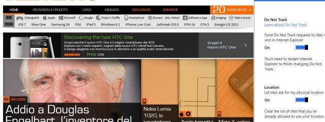 Internet Explorer 11, Microsoft aggiorna il DNT