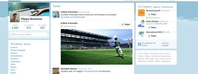 Twitter introduce un nuovo layout web a 3 colonne