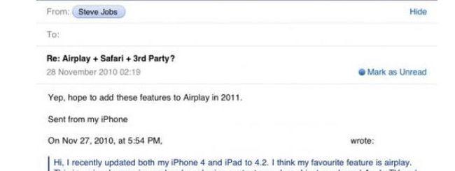 Jobs: AirPlay per Safari ed altre applicazioni nel 2011