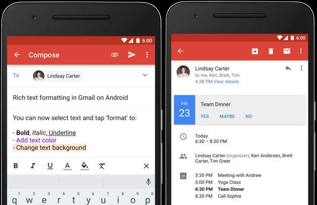 RTF e Instant RSVP - Gmail per Android