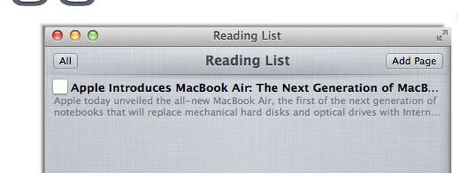 Safari avrà la Reading List
