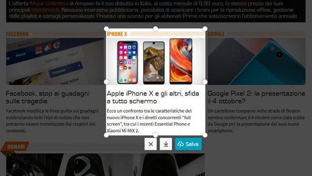 Esempio di cattura con Firefox Screenshots.