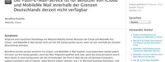 iCloud: Motorola vieta le e-mail push in Germania