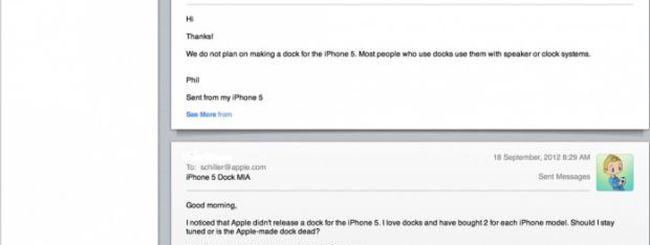 Schiller: niente Dock Apple in arrivo per iPhone 5